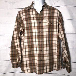Lucky Brand Rust/Browns Plaid LS Button Down - L